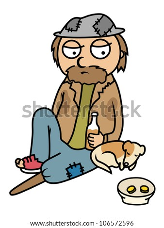 Cartoon vector illustration of drunk homeless man sitting on street with his dog, begging - stock vector