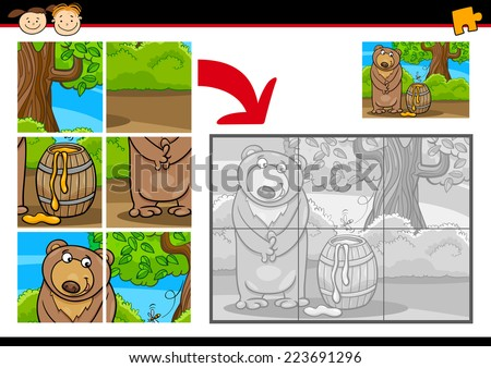 Cartoon Vector Illustration of Education Jigsaw Puzzle Game for Preschool Children with Funny Bear Animal - stock vector