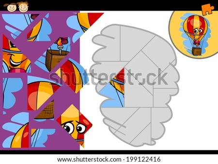 Cartoon Vector Illustration of Education Jigsaw Puzzle Game for Preschool Children with Funny Hot Air Balloon Character - stock vector