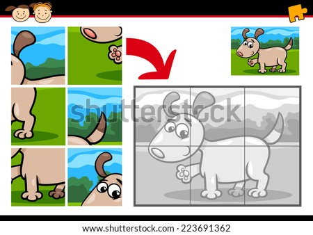 Cartoon Vector Illustration of Education Jigsaw Puzzle Game for Preschool Children with Funny Puppy Dog - stock vector