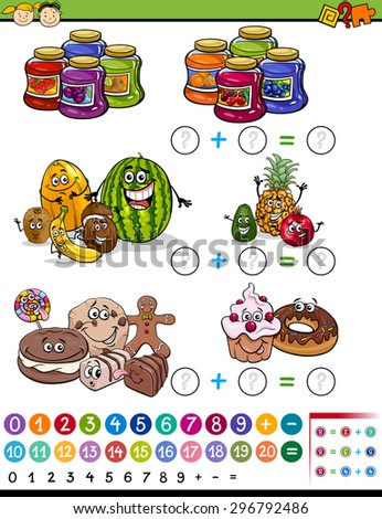 Cartoon Vector Illustration of Education Mathematical Algebra Game for Preschool Children with Fruits and Sweets - stock vector