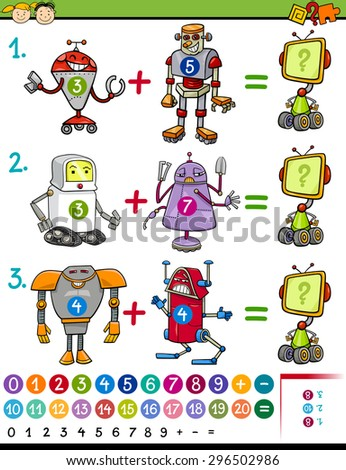 Cartoon Vector Illustration of Education Mathematical Game for Preschool Children with Animals with Robots - stock vector