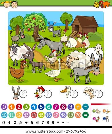 Cartoon Vector Illustration of Education Mathematical Game for Preschool Children with Farm Animals - stock vector