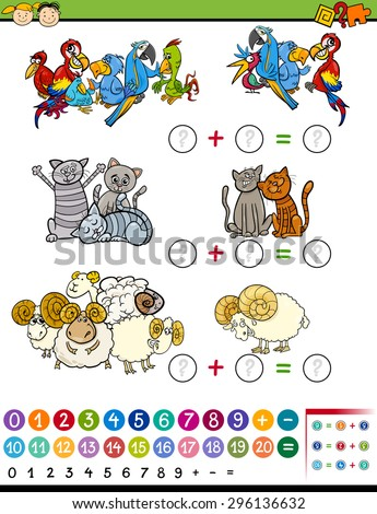 Cartoon Vector Illustration of Education Mathematical Game of Counting Animals for Preschool Children - stock vector