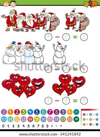 Cartoon Vector Illustration of Education Mathematical Subtraction Task for Preschool Children - stock vector