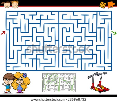 Cartoon Vector Illustration of Education Maze or Labyrinth Game for Preschool Children with Playground - stock vector