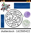 Cartoon Vector Illustration of Education Maze or Labyrinth Game for Preschool Children with Funny Alien Character and Space - stock vector