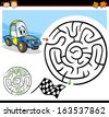 Cartoon Vector Illustration of Education Maze or Labyrinth Game for Preschool Children with Funny Racing Car Character - stock vector