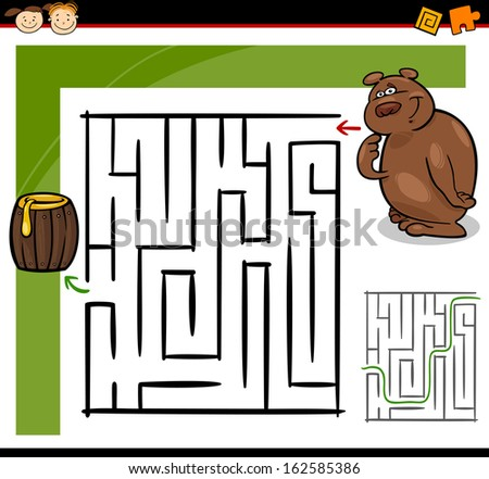 Cartoon Vector Illustration of Education Maze or Labyrinth Game for Preschool Children with Funny Bear Animal and Barrel of Honey - stock vector