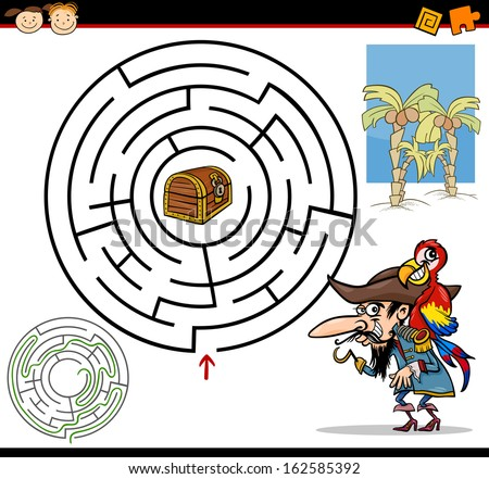 Cartoon Vector Illustration of Education Maze or Labyrinth Game for Preschool Children with Funny Pirate with Parrot and Treasure - stock vector