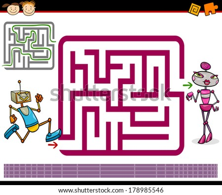 Cartoon Vector Illustration of Education Maze or Labyrinth Game for Preschool Children with Funny Robots Characters - stock vector