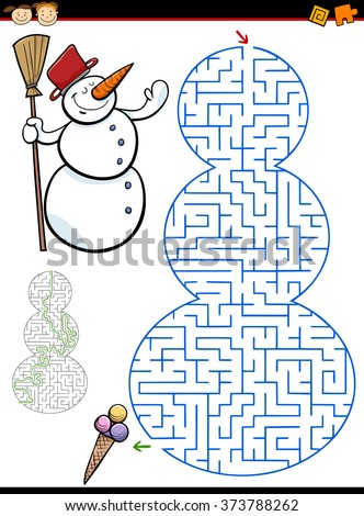 Cartoon Vector Illustration of Education Maze or Labyrinth Game for Preschool Children with Snowman Character