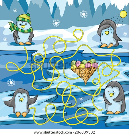 Cartoon Vector Illustration of Education Maze with Funny Penguin and ice cream - stock vector