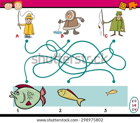 Cartoon Vector Illustration of Education Paths or Maze Game for Preschool Children with Anglers and Fish - stock vector