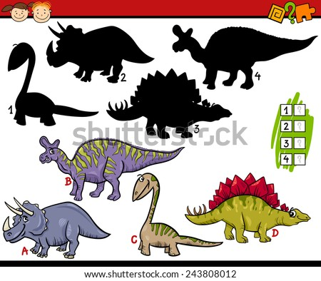 Cartoon Vector Illustration of Education Shadow Matching Game for Preschool Children - stock vector
