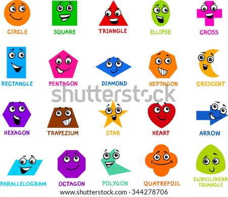 Cartoon Vector Illustration of Educational Basic Geometric Shapes Characters with Captions for Preschool or Primary School Children - stock vector