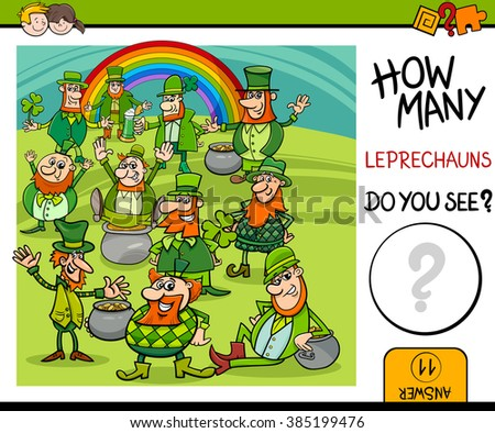 Cartoon Vector Illustration of Educational Counting Task for Preschool Children with Leprechaun Fantasy Characters - stock vector