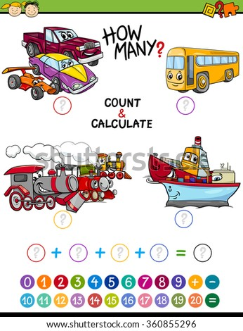 Cartoon Vector Illustration of Educational Mathematical Count and Addition Game for Preschool Children with Transportation Characters - stock vector