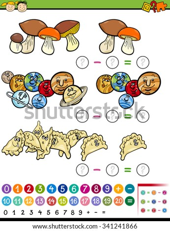 Cartoon Vector Illustration of Educational Mathematical Subtraction Task for Preschool Children