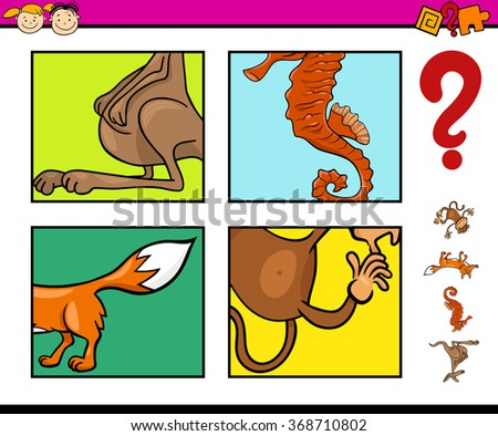 Cartoon Vector Illustration of Educational Task for Preschool Children with Animals Riddle - stock vector