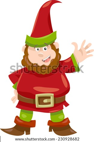 Cartoon Vector Illustration of Fantasy Gnome or Dwarf