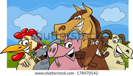 Cartoon Vector Illustration of Farm Animals Livestock Characters Group - stock vector