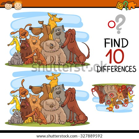 Cartoon Vector Illustration of Finding Differences Educational Game for Preschool Kids with Dog Characters - stock vector