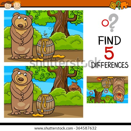 Cartoon Vector Illustration of Finding Differences Educational Task for Preschool Children with Bear and Honey