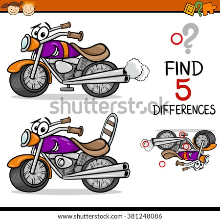 Cartoon Vector Illustration of Finding Differences Educational Task for Preschool Children with Bike Transport Character - stock vector