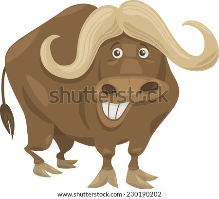 Cartoon Vector Illustration of Funny African Buffalo Animal Character - stock vector