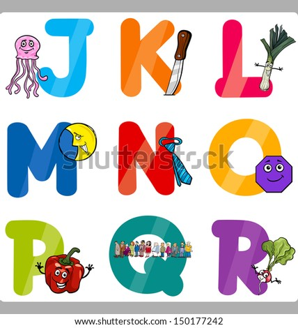 Cartoon Vector Illustration of Funny Capital Letters Alphabet with Objects for Language and Vocabulary Education for Children from J to R - stock vector