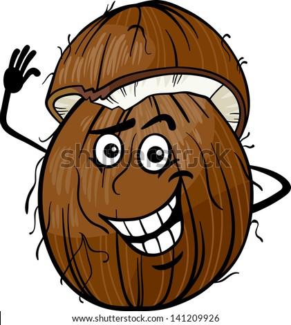 Cartoon Vector Illustration of Funny Coconut Fruit Food Comic Character - stock vector