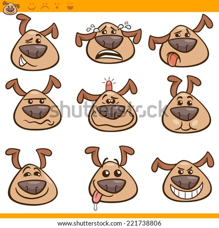 Cartoon Vector Illustration of Funny Dogs Expressing Emotions or Emoticons Set - stock vector