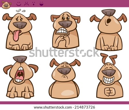 Cartoon Vector Illustration of Funny Dogs Expressing Emotions Set - stock vector