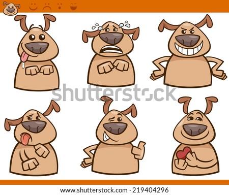 Cartoon Vector Illustration of Funny Dogs Expressing Emotions Set - stock vector