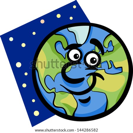 Cartoon Vector Illustration of Funny Earth Planet Comic Mascot Character - stock vector