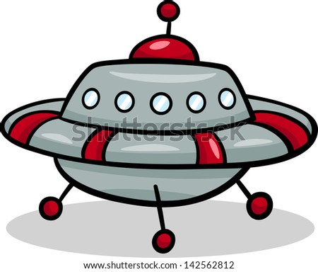Cartoon Vector Illustration of Funny Flying Saucer or Spaceship Ufo