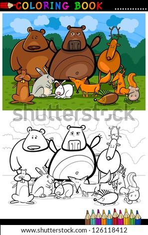 Cartoon Vector Illustration of Funny Forest Wild Animals like Bears, Hedgehog, Deer, Hare and Fox for Coloring Book or Coloring Page - stock vector