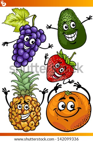 Cartoon Vector Illustration of Funny Fruits Comic Food Characters Set - stock vector