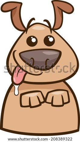 Cartoon Vector Illustration Of Funny Hungry Dog Begging