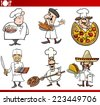 Cartoon Vector Illustration of Funny International Cuisine Chefs with Food Dishes - stock