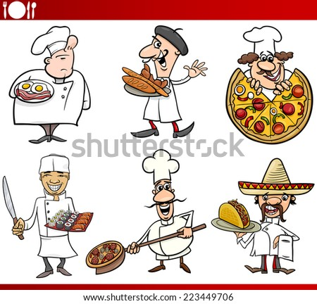 Cartoon Vector Illustration of Funny International Cuisine Chefs with Food Dishes