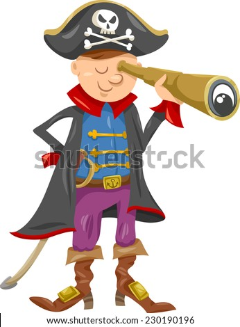Cartoon Vector Illustration of Funny Pirate or Corsair Captain Boy with Spyglass and Jolly Roger Sign