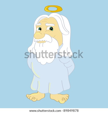 cartoon vector illustration of God - stock vector