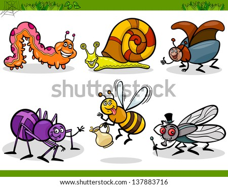 Cartoon Vector Illustration of Happy Insects or Bugs Set like Bee, Beetle, Spider, Fly and Caterpillar