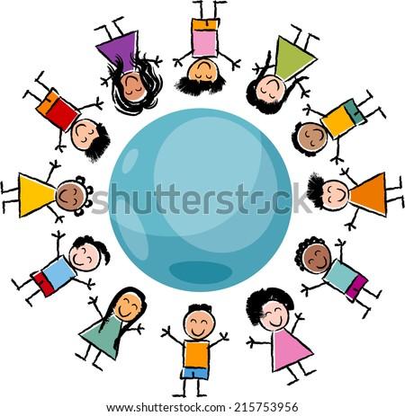 Cartoon Vector Illustration of Happy Multicultural Children around the Globe - stock vector
