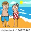 Cartoon vector illustration of happy old couple on summer holiday by the sea on beach - stock vector