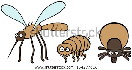 Cartoon vector illustration of human and dog parasites mosquito, flea and tick - stock vector
