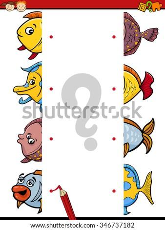 Cartoon Vector Illustration of Kindergarten Educational Join Halves Task for Children with Fish Characters - stock vector