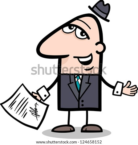 Cartoon Vector Illustration of Man or Businessman with Signed Agreement or Contract